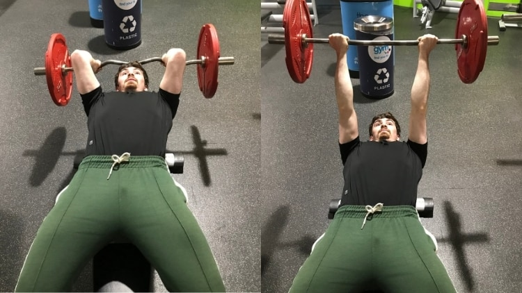 A man performing underhand supinated skull crushers for his triceps