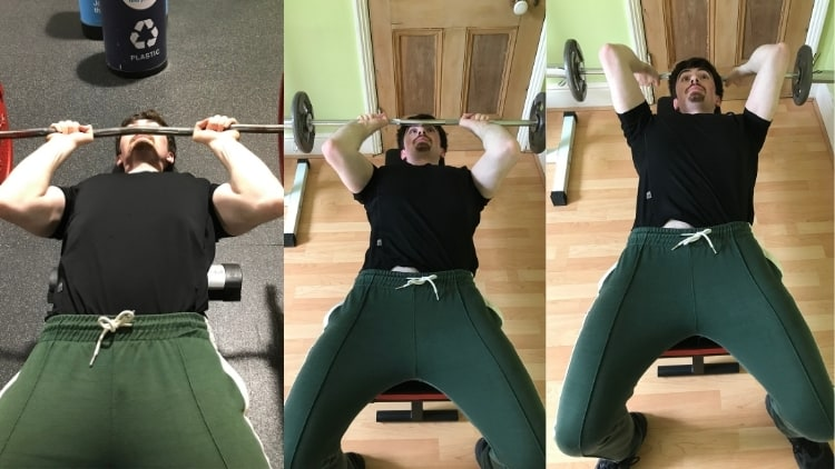 A man performing three way skull crushers for his triceps
