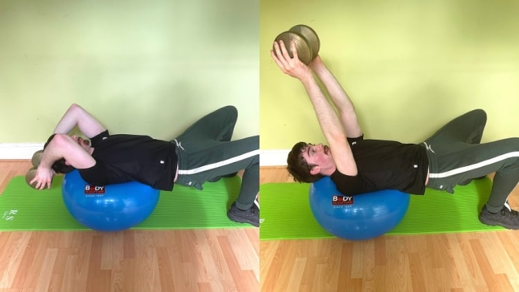 A man performing a tricep extension on a Swiss ball