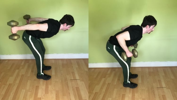 A man doing a tricep kickback with dumbbells