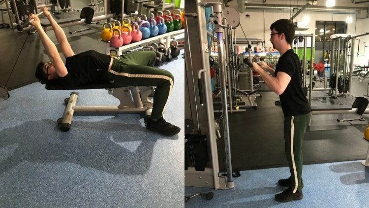 A man doing a tricep pressdown vs skull crusher comparison to demonstrate the differences