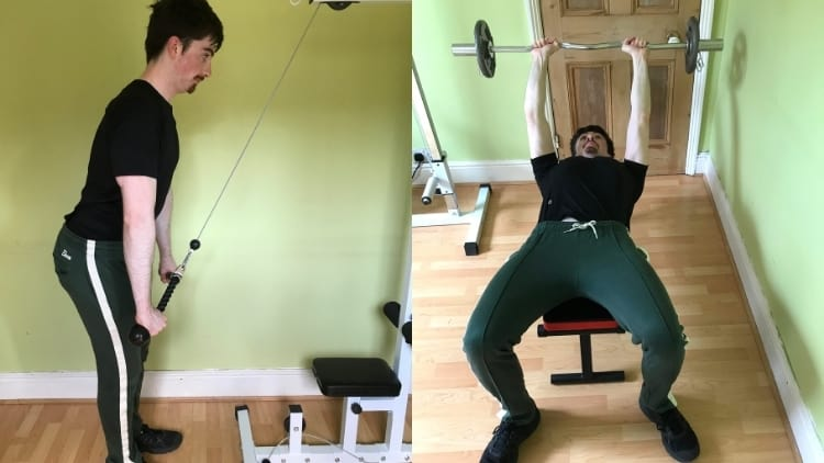 A man doing a tricep pushdown vs skull crusher comparison to show the differences