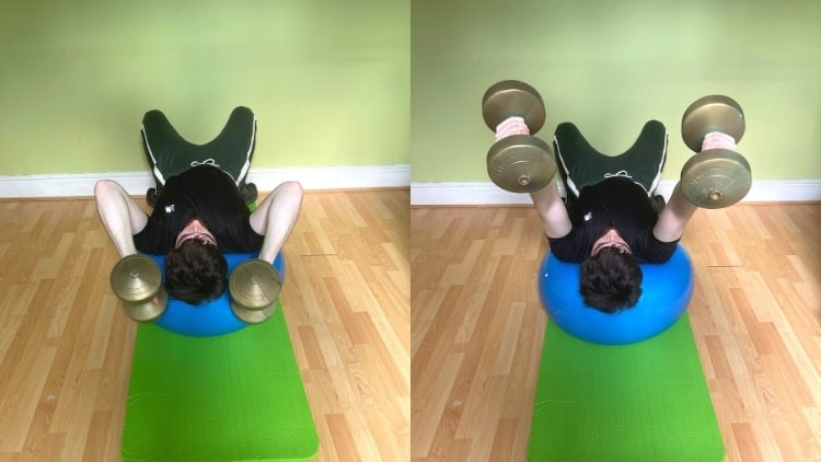 A man doing tricep extensions on a stability ball