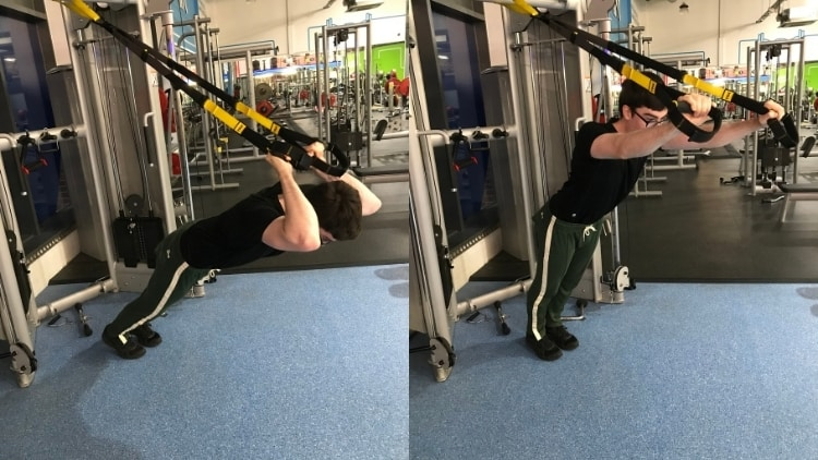 A man performing a TRX skull crusher for his triceps