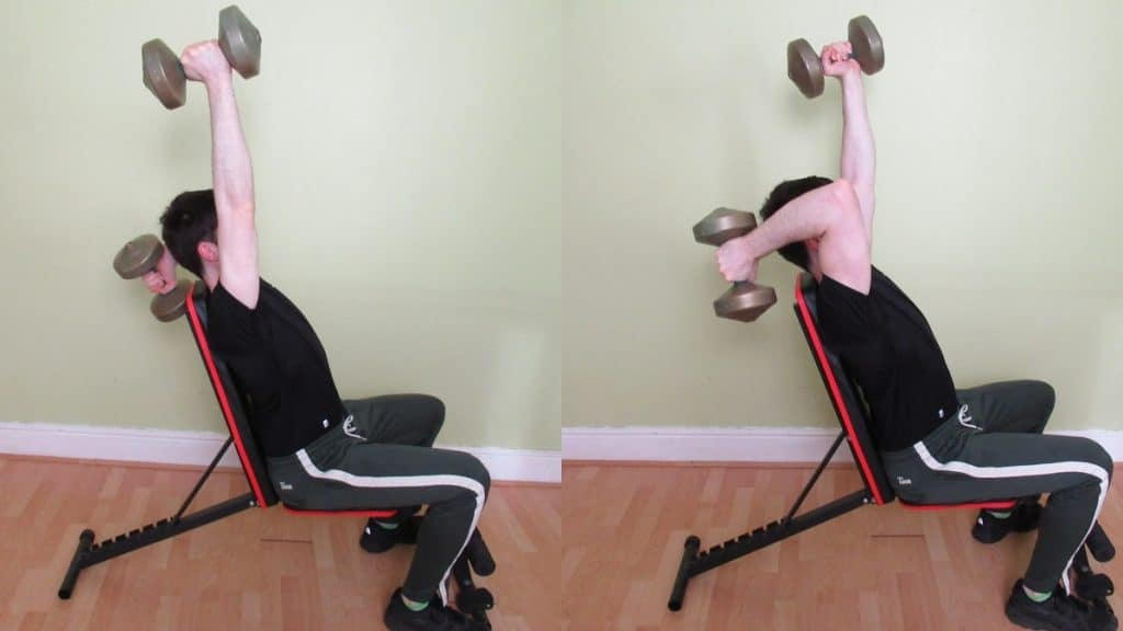 A man doing an alternating seated tricep extension