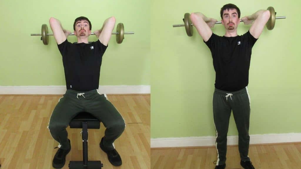 A man doing an overhead barbell seated tricep extension