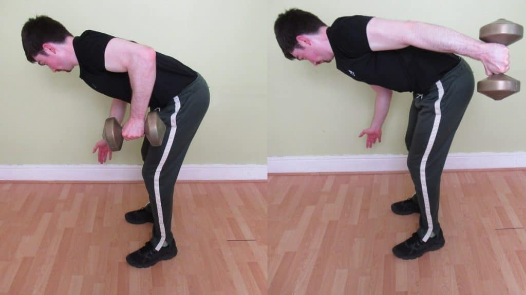 A man performing a bent over one arm tricep extension
