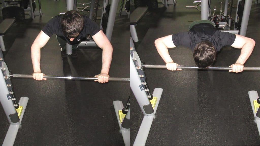 A man making a common body weight tricep extension mistake: flaring the elbows out