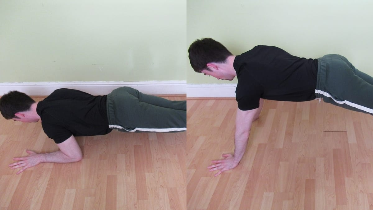 A man performing a bodyweight tricep extension during his calisthenics workout
