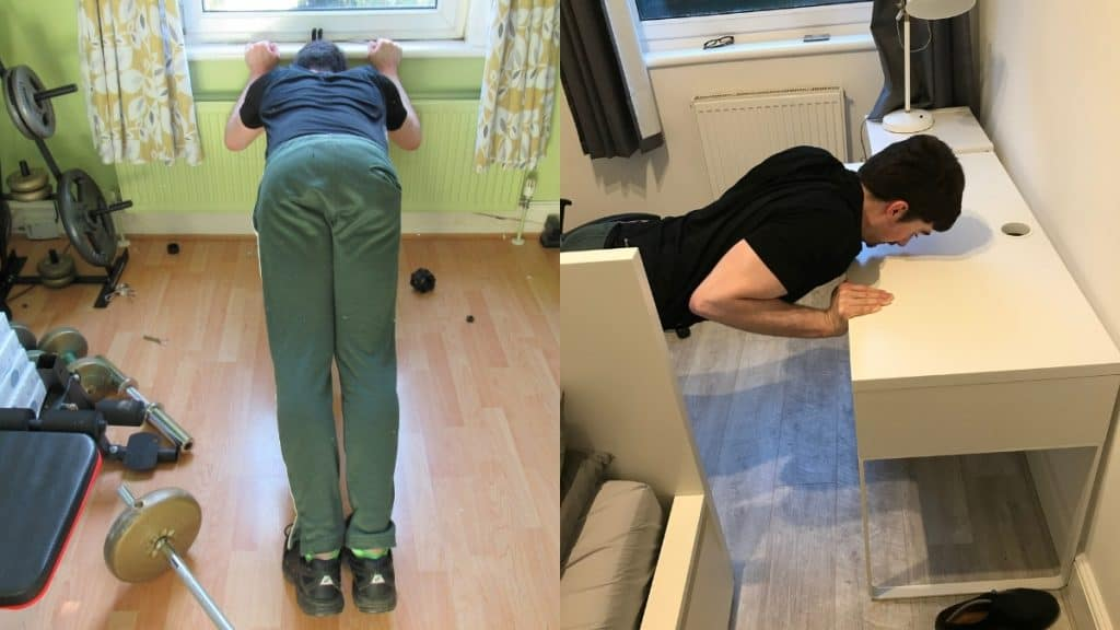 A man doing bodyweight tricep extensions at home