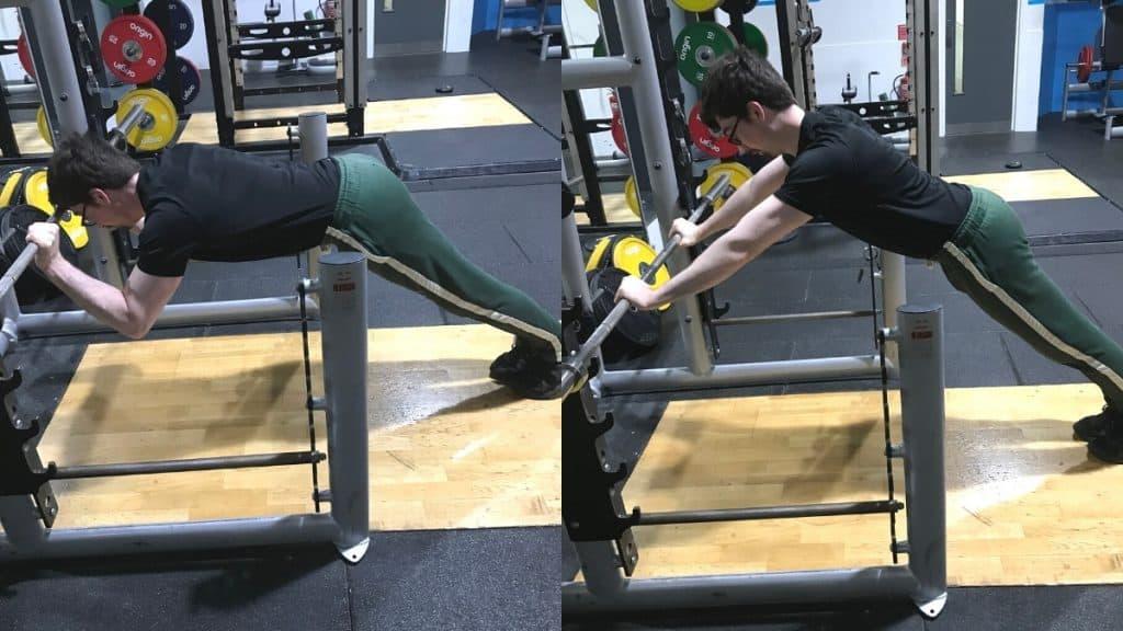 A man doing a bodyweight tricep press