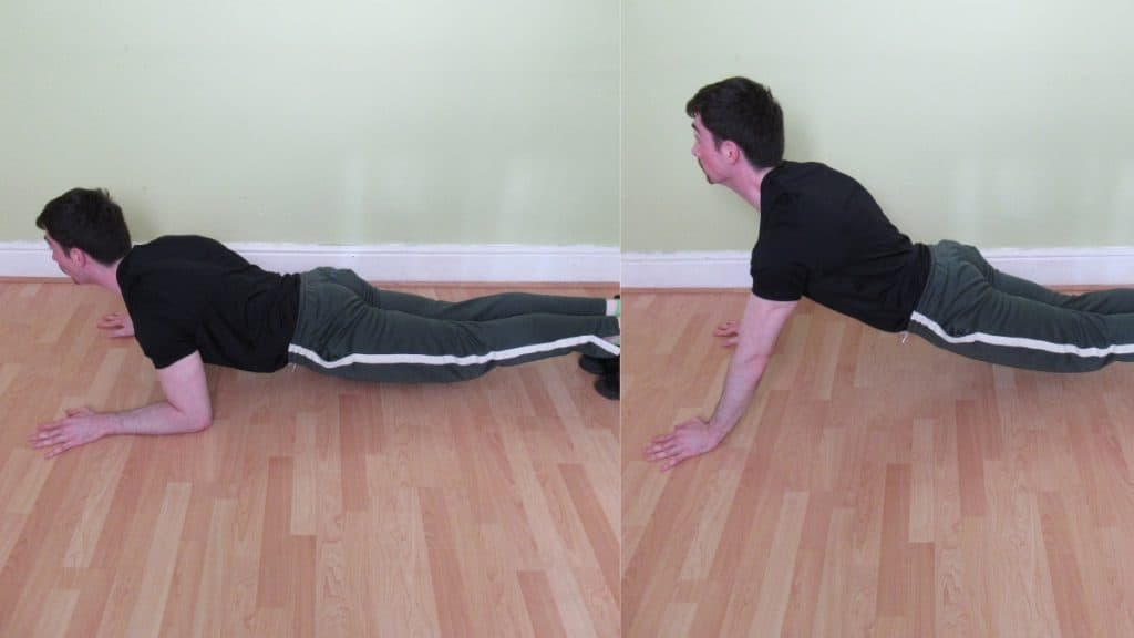 A man making a common bodyweight triceps extension mistake: letting the hips sag