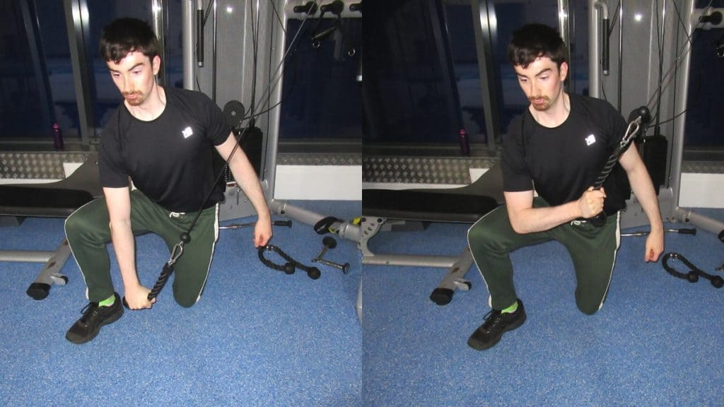 A man performing a cable concentration triceps extension