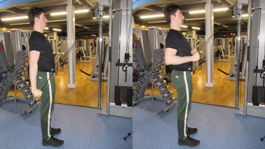 A man at the gym doing a cable cross tricep extension