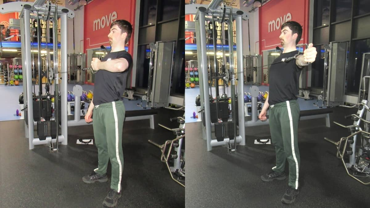 A man performing a cable horizontal tricep extension at the gym