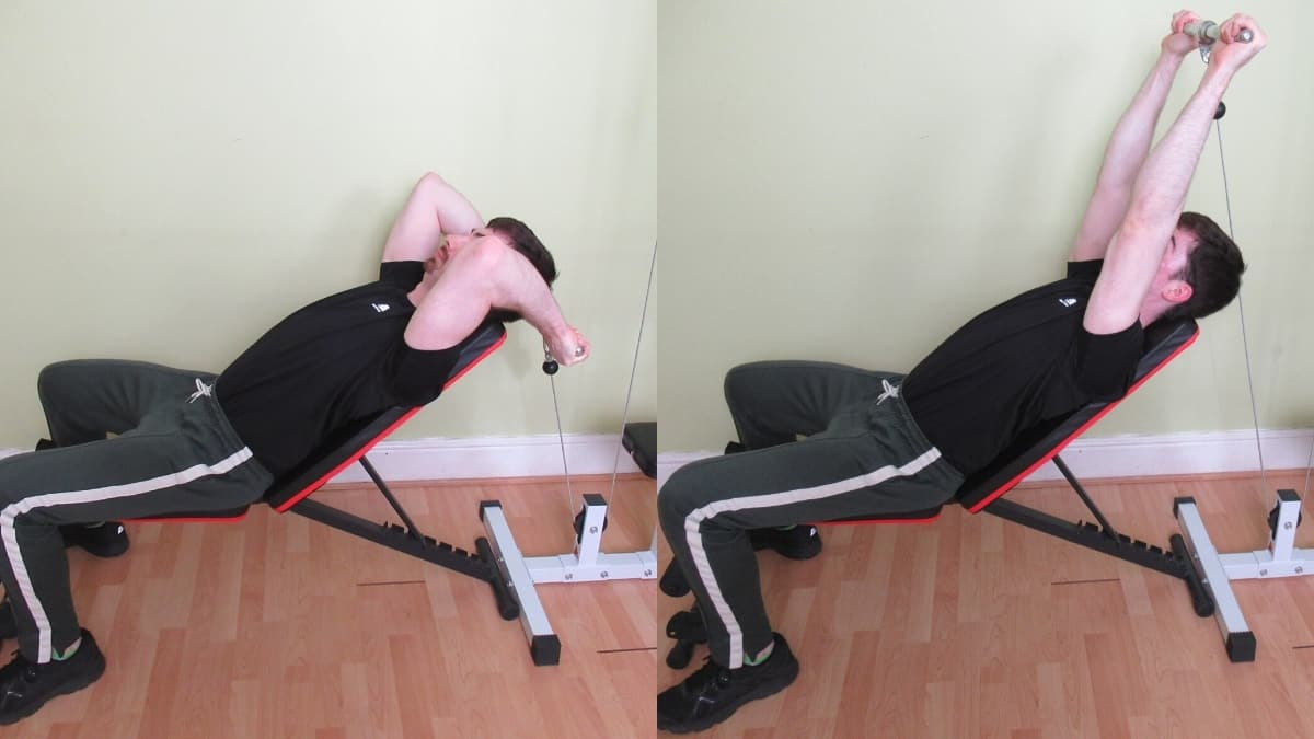 A man demonstrating how to do a cable incline tricep extension