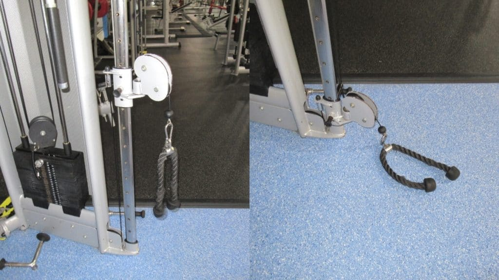Mid and high pulley positions for the cable overhead extension
