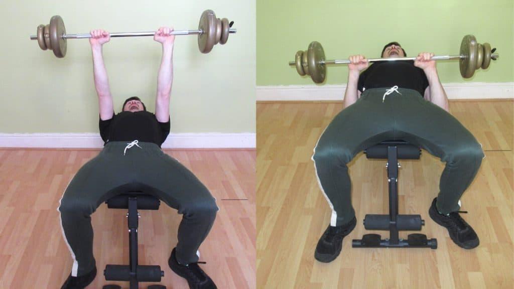 A man doing a close grip bench press