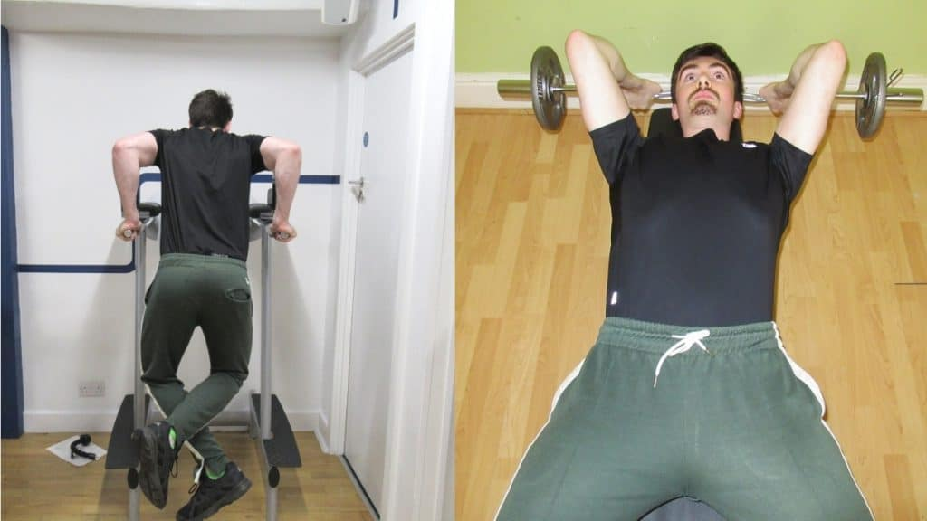 A man at the gym doing a dips vs lying tricep extensions comparison