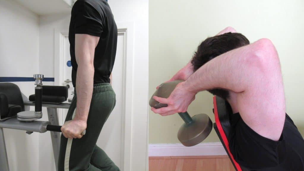A man doing a dips vs overhead extensions comparison at the gym