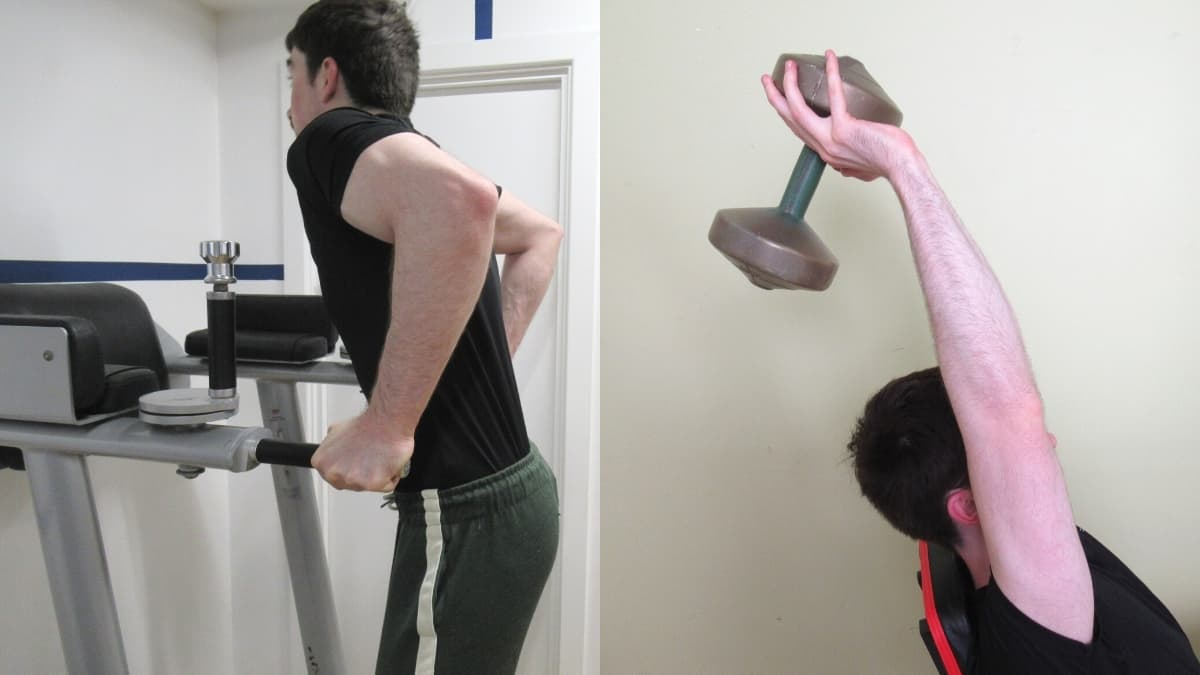 A man doing a dips vs tricep extension comparison to show the differences
