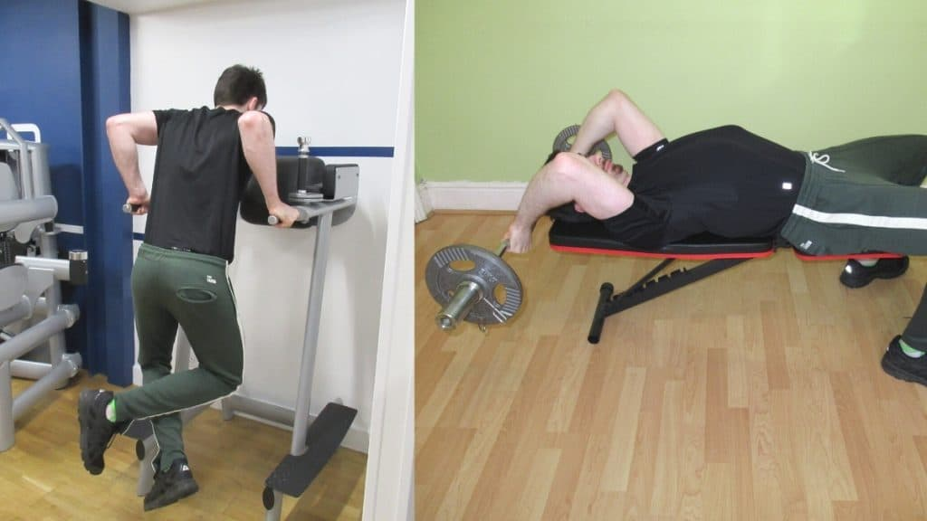 A man performing a dips vs triceps extensions comparison