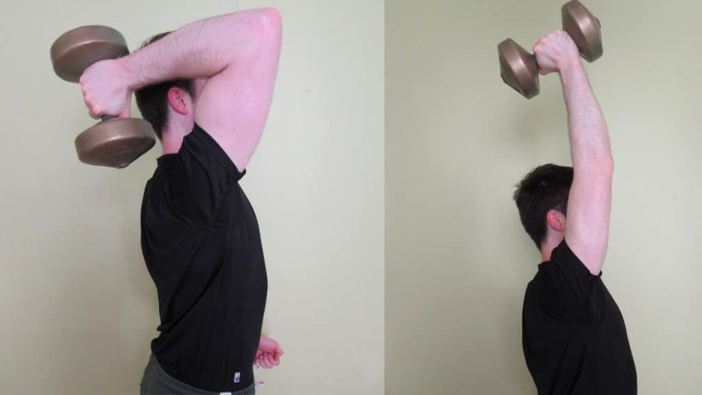 A man doing a dumbbell 1-arm tricep extension