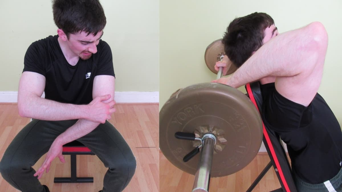 A man with elbow pain after his weight lifting workout due to tricep extensions
