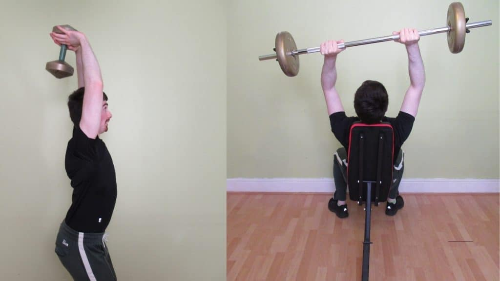 A man causing himself elbow pain during tricep weight lifting
