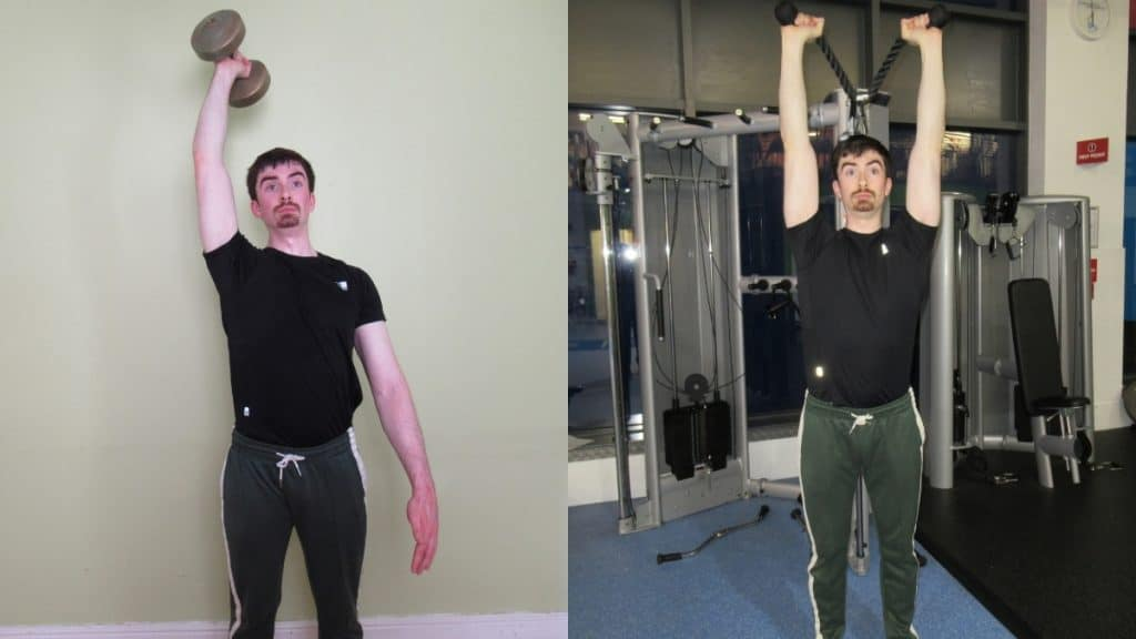 A man performing tricep extensions