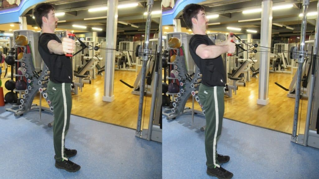 A man doing a horizontal cable tricep extension