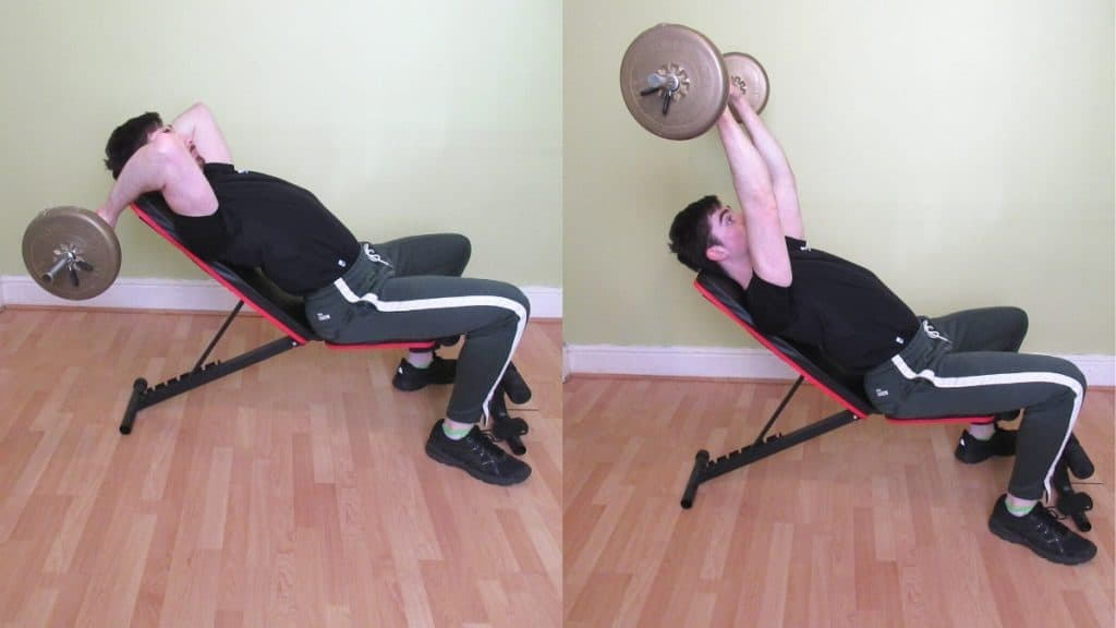 A man doing an incline barbell tricep extension