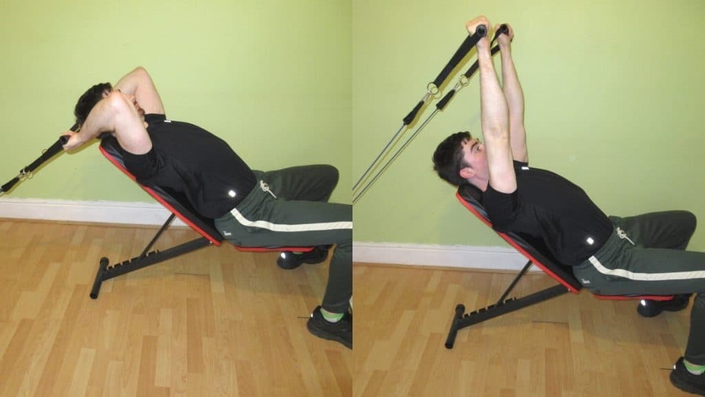 A man doing an incline resistance band tricep extension