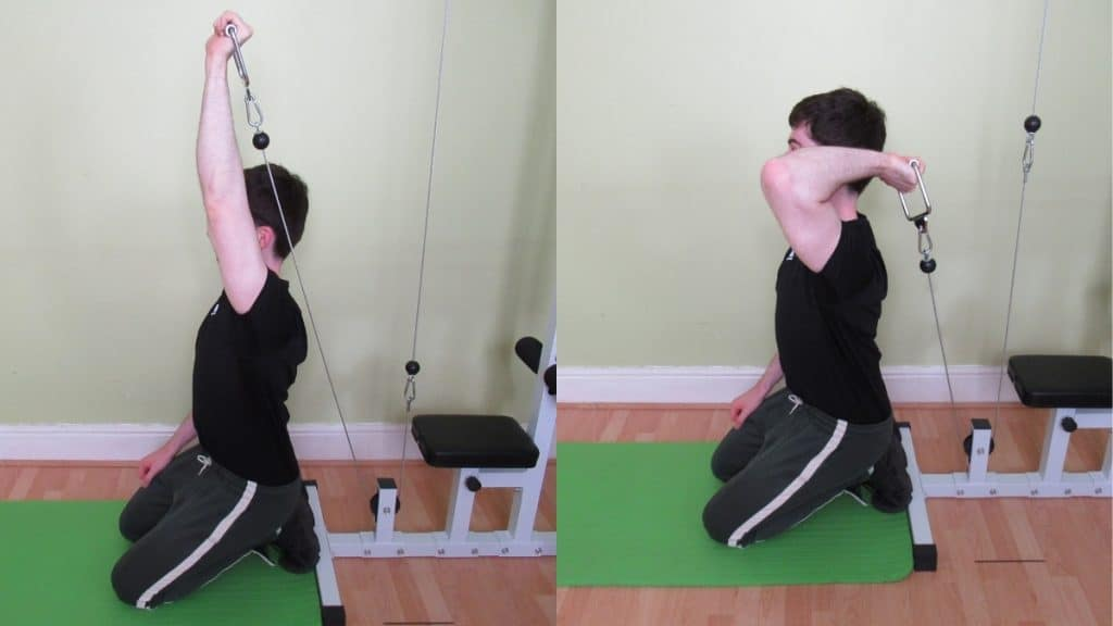 A man performing a kneeling single arm cable overhead extension