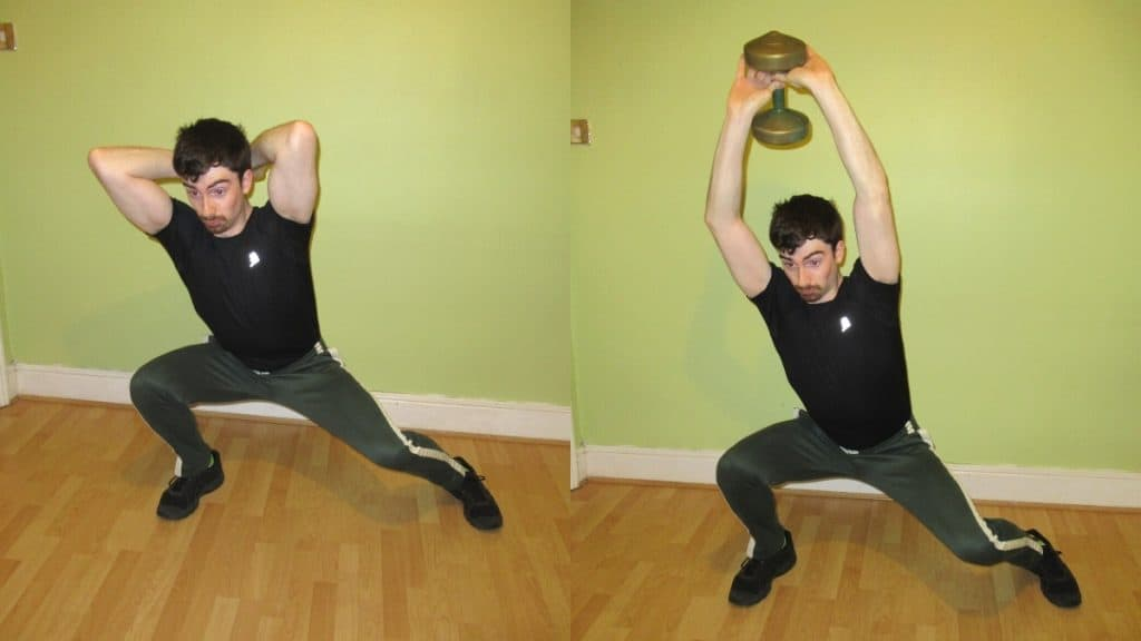 A man performing a lateral lunge wth tricep extension