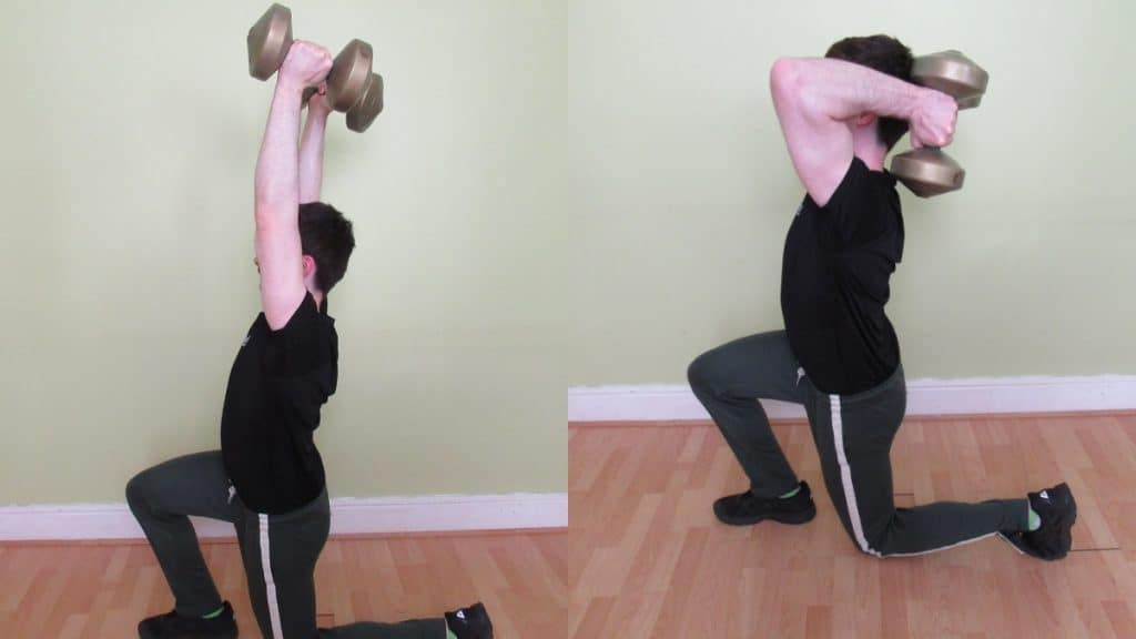 A man doing a lunge tricep extension