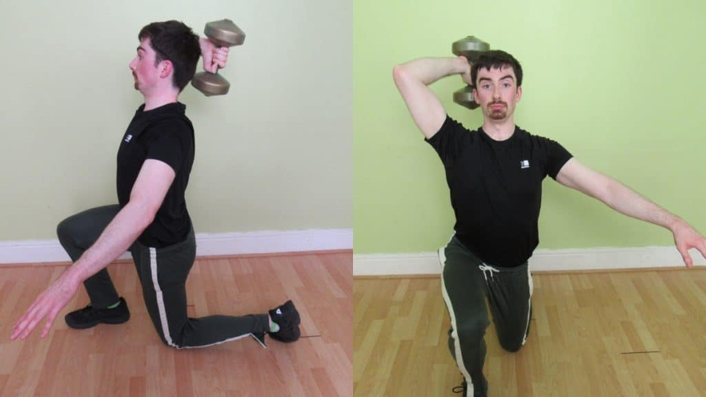 A man performing a lunge with tricep extension