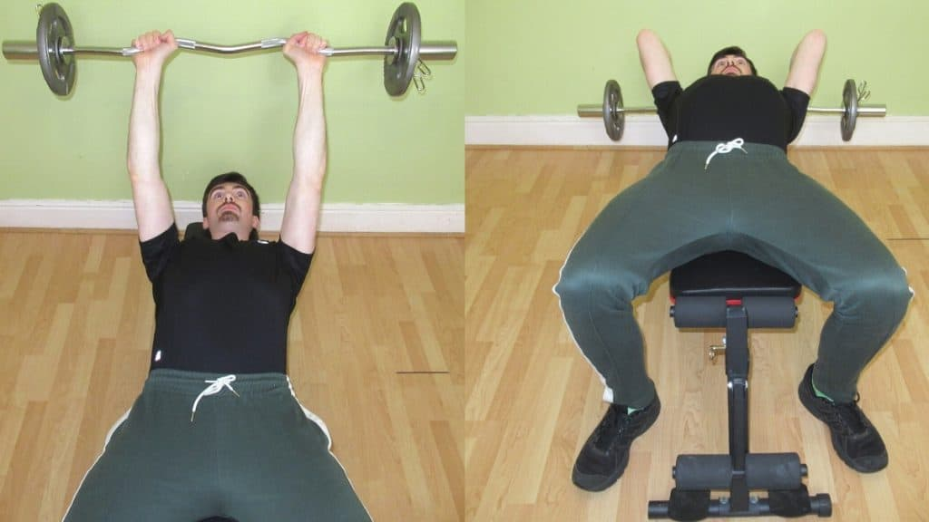 A man doing a lying tricep extension with an EZ bar