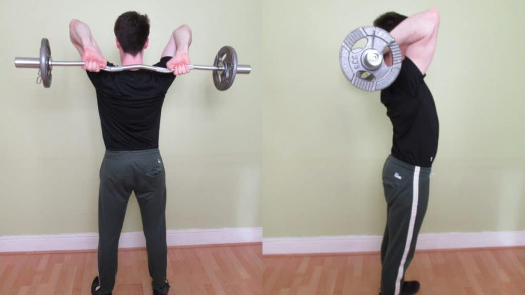 A man doing tricep extensions