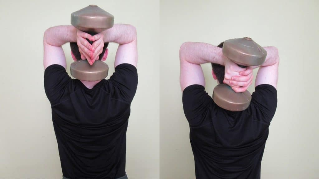 A man doing an oh tricep extension with a dumbbell