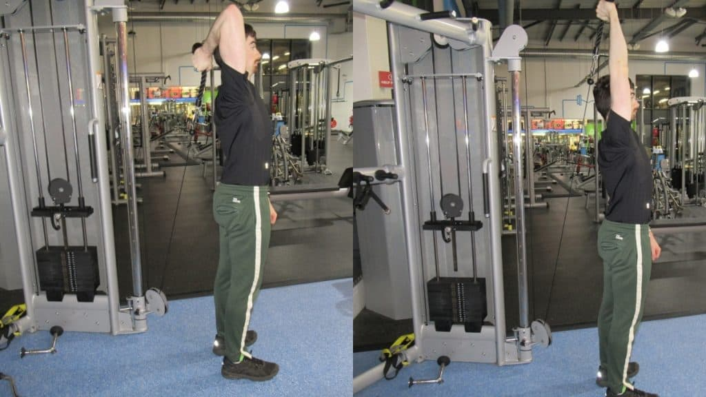 A man performing a one arm overhead cable triceps extension at the gym