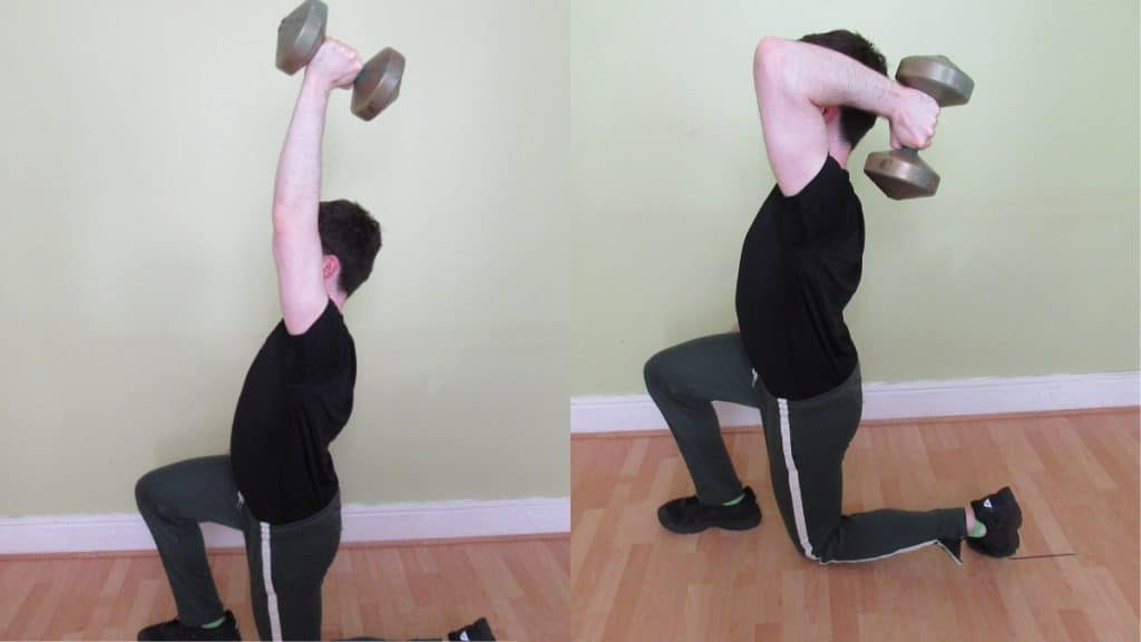A man doing a one arm tricep extension lunge