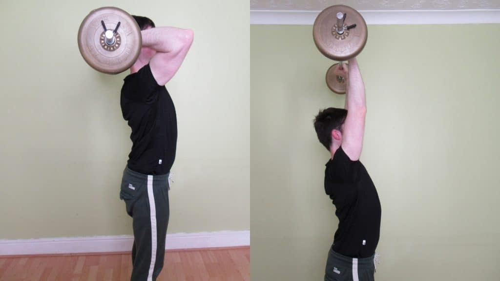 A man demonstrating the proper form for an overhead barbell extension