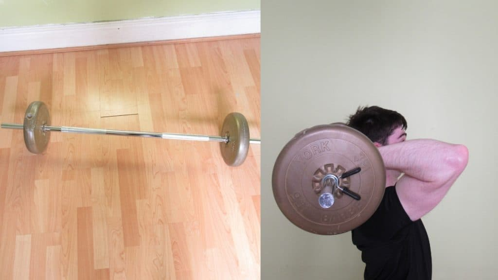 A man performing an overhead barbell triceps extension exercise during his workout