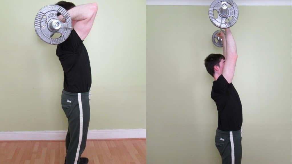 A man doing an overhead EZ bar extension for his triceps