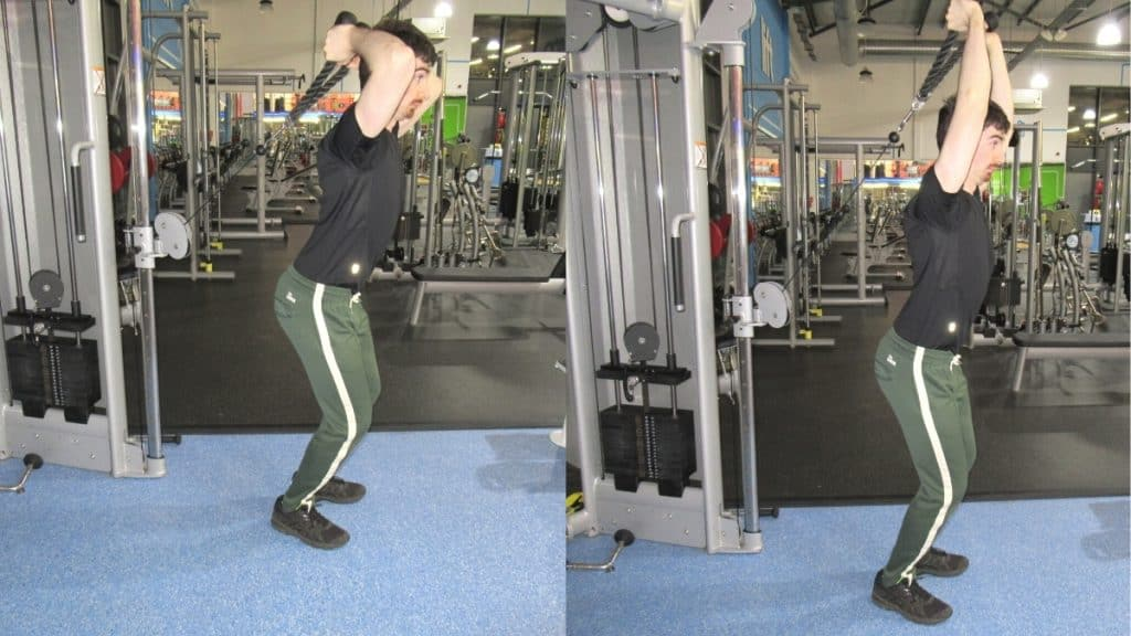 A man making a common overhead rope tricep extension mistake: lifting the weight with momentum