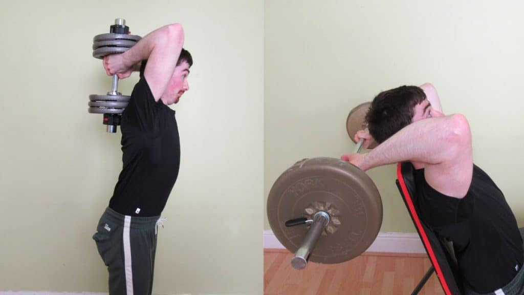 A man showing how lifting too heavy during an overhead tricep extension can lead to elbow pain