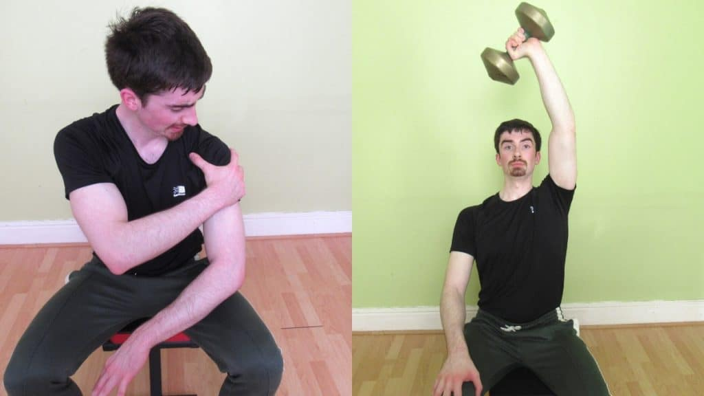 A man with shoulder pain from overhead tricep extensions