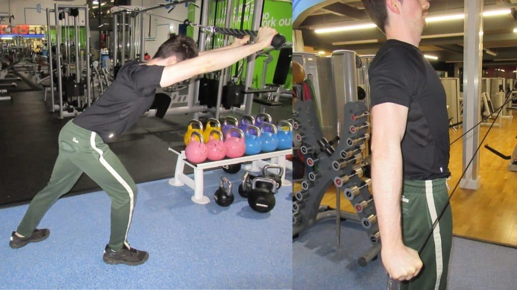 A man at the gym showing the differences between overhead tricep extensions and pushdowns