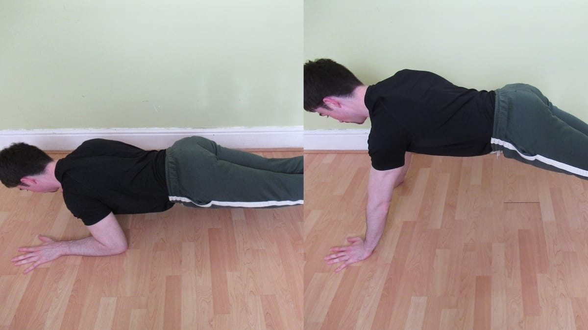 A man performing a plank to triceps extension